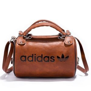 Adidas Faux Leather Small Cylindrical Bag - Brown